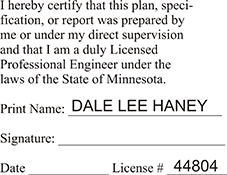 Licensed Professional Engineer (Rect. Stamp) - Minnesota<br>ENG-STAMP-MN